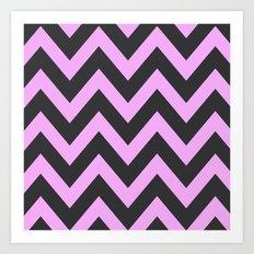 Pink & Charcoal Chevron Art Print