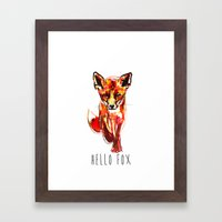 Cute Little Red Fox water colour ink Framed Art Print