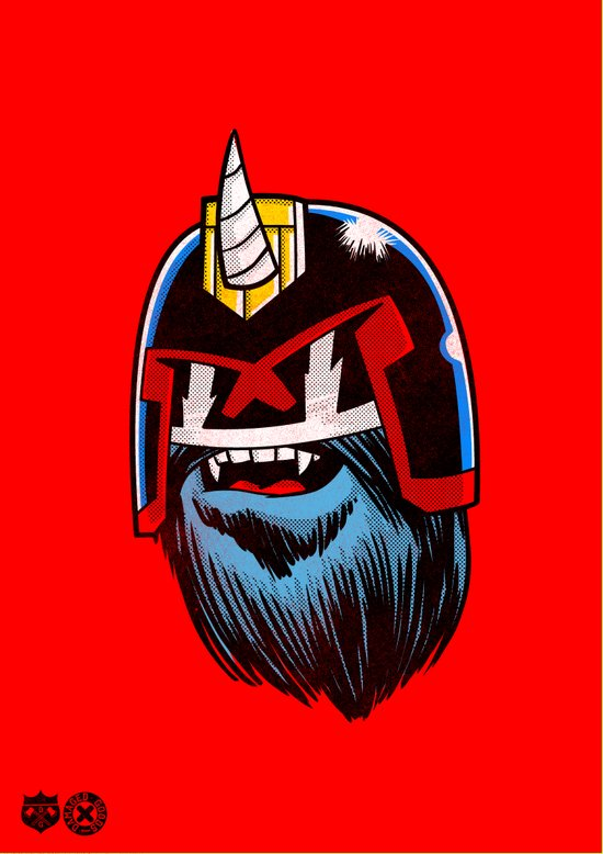 Yeticorn Comic Heroes series: Judge Dredd!  Art Print