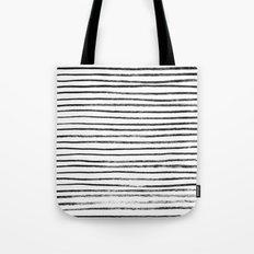 Black Brush Lines On Whi… Tote Bag