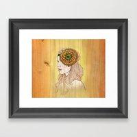Golden Woodgrain Girl Framed Art Print