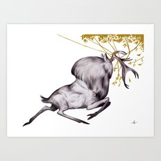 The Stag & His Reflectio… Art Print