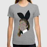 Playboy Bunny Girl Womens Fitted Tee Tri-Grey SMALL