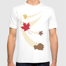 Fall Leaves White SMALL Mens Fitted Tee