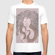 Snake and Sprite: Pink Mens Fitted Tee SMALL White
