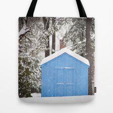 Blue Snow House  Tote Bag