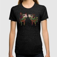 pig love jade Womens Fitted Tee Tri-Black SMALL