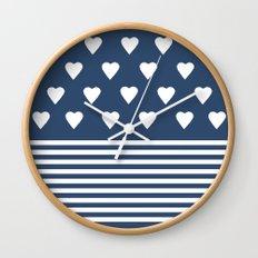 Heart Stripes Navy Wall Clock