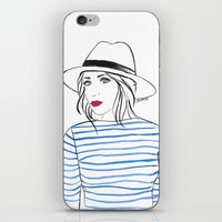 Stripes & Red Lips iPhone & iPod Skin