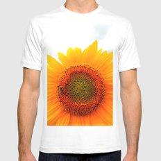 Sunflower and Bee SMALL White Mens Fitted Tee