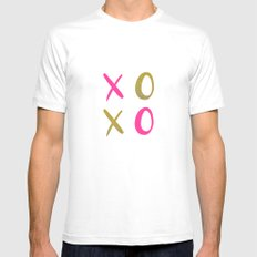 XOXO In Pink + Gold Mens Fitted Tee White SMALL