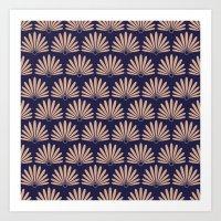 Blue & Peach Daisies Art Print