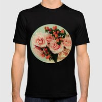 Little Pink Roses Mens Fitted Tee Black SMALL