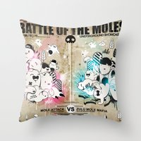 Battle Of The Moles Throw Pillow