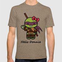 Hello Donnie Mens Fitted Tee Tri-Coffee SMALL