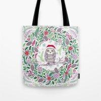 Owl Wreath Tote Bag