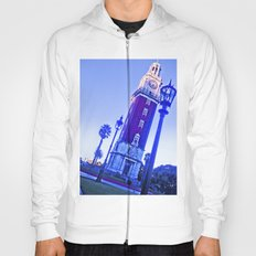 The clock, blue sky, time passes. Hoody