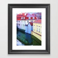 Blue House Sandwich Framed Art Print