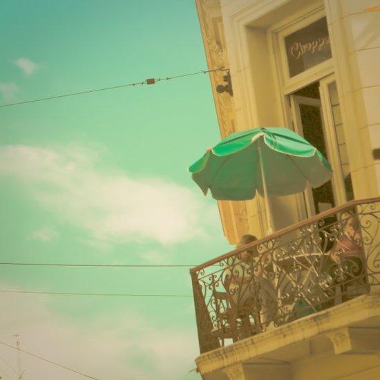 Vintage Turquoise Summer Umbrella (Retro and Vintage Urban Photography)  Canvas Print