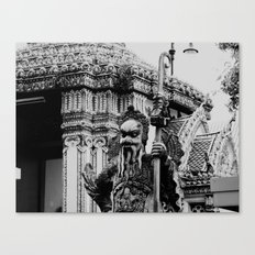 The Stone Guardians of Wat Pho, Bangkok, Thailand. B/W. Canvas Print
