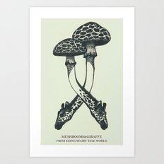 Mushrooms & Giraffe Art Print