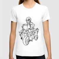 Skull Boy  on a Tricycle  Womens Fitted Tee White SMALL