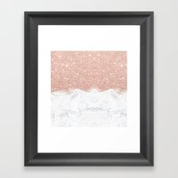 Trendy modern faux glitter rose gold brushstrokes white marble  Framed Art Print