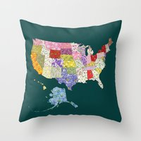 United States in Flowers Throw Pillow