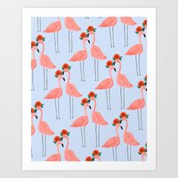 Flower Power Flamingos Art Print