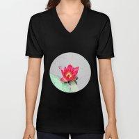 art style pretty pink waterlily flower  Unisex V-Neck