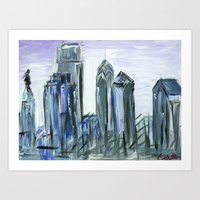 Gray Philadelphia Skyline Art Print