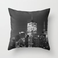 New York City Night Scen… Throw Pillow