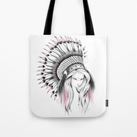 Indian Headdress Pink Version Tote Bag