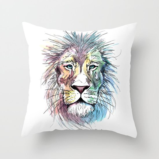 Technicolor Cat Throw Pillow