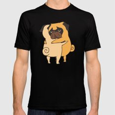 Pug Hugs SMALL Mens Fitted Tee Black