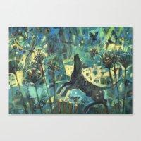 Dog In The Garden. Canvas Print