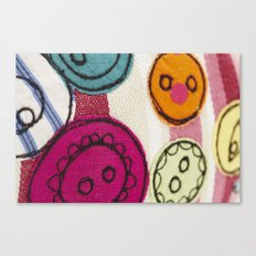 Embroidered Buttons Pink Canvas Print