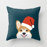 Corgi Christmas  Santa C… Throw Pillow