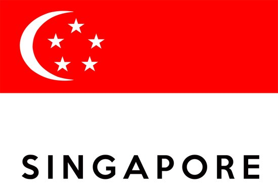 Singapore country flag name text Art Print
