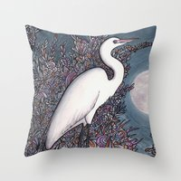 Egret In The Moonlight Throw Pillow