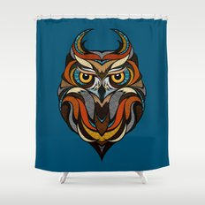 Oldschool Owl Shower Curtain