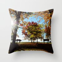Autumnal sunshine Throw Pillow