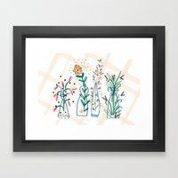 Flowers. Vase, illustration, art, print, pattern, nature, floral, still life, Framed Art Print