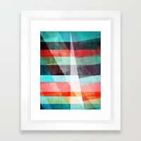 Colorful Grunge Stripes Abstract Framed Art Print