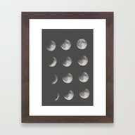 Framed Art Print featuring Phases Of The Moon by Sara Eshak