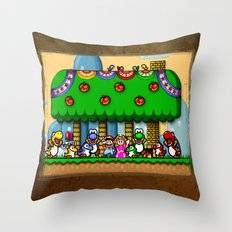 Super Mario World Happy Ending Throw Pillow