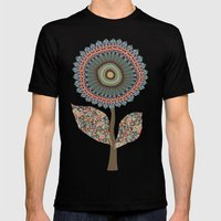 Fabby Flowers-Vintage Co… Mens Fitted Tee Black SMALL