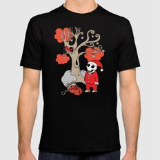 SANTA'S RED BIRD Mens Fitted Tee Black SMALL