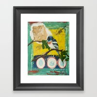 Lazuli Bunting Daddy's Gone A Hunting Framed Art Print