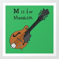 M is for Mandolin Art Print